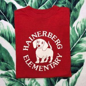 Vintage 80s Dachshund Dog T Shirt Germany School
